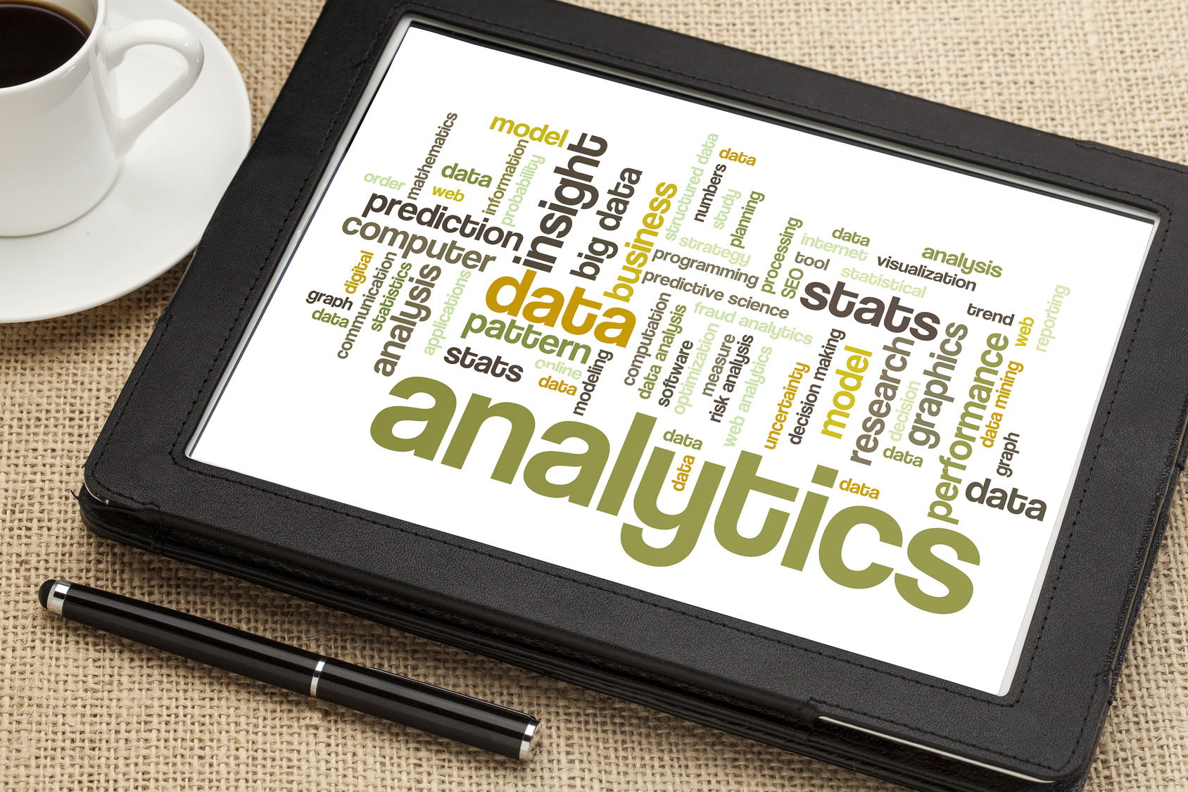 analytics word cloud on digital tablet