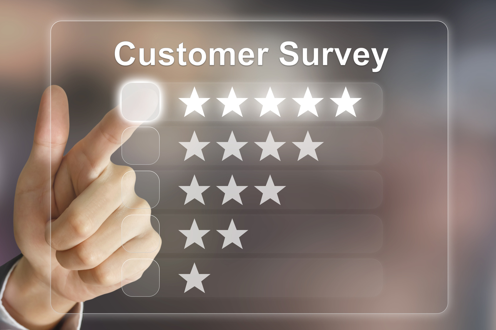 business hand pushing customer survey on virtual screen