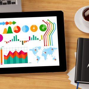 Tablet Computer mit Statistiken und Diagrammen