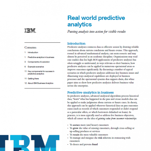 Real world examples of predictive analytics - white paper