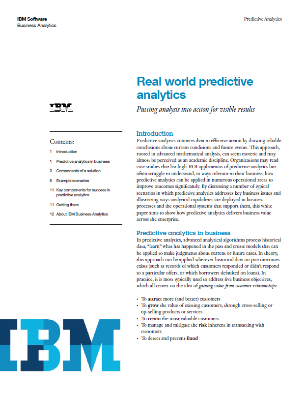Real World Examples Of Predictive Analytics White Paper