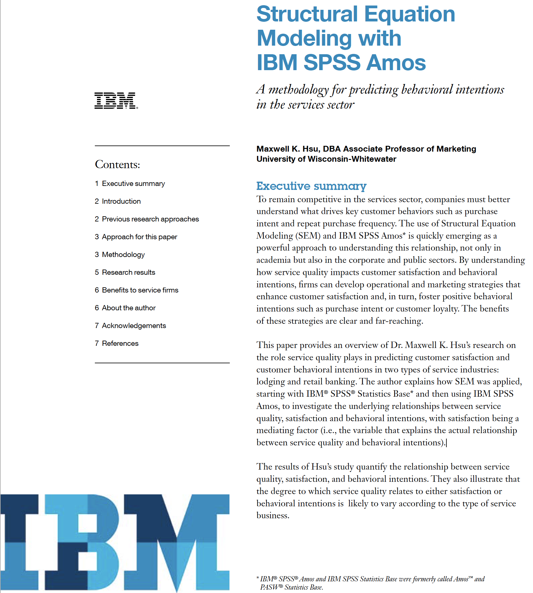 Structural equation modelling with IBM SPSS Amos